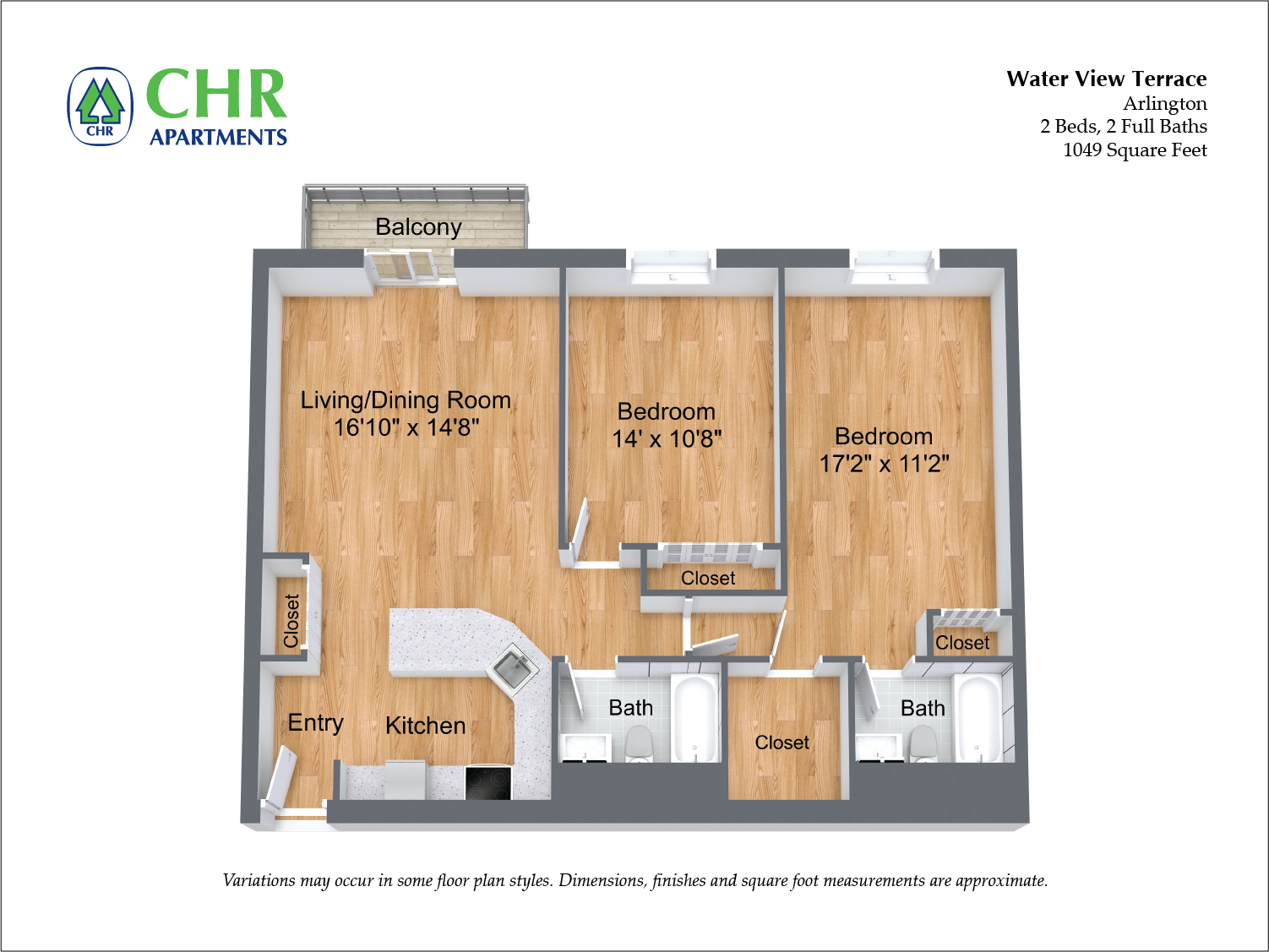 Click to view 2 BR w/ Walk-in Closet floor plan gallery