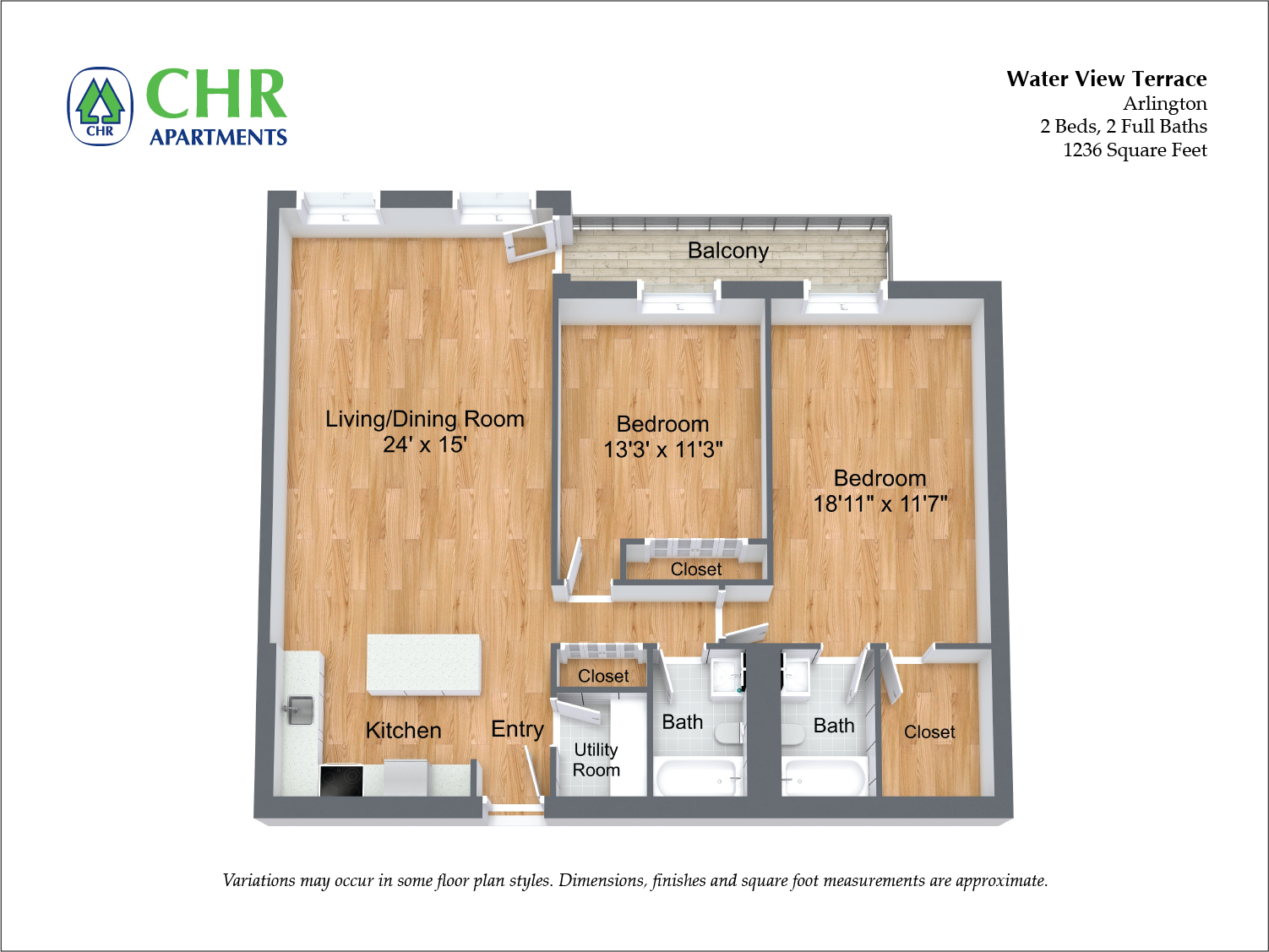 Click to view 2 BR Large w/ Balcony floor plan gallery