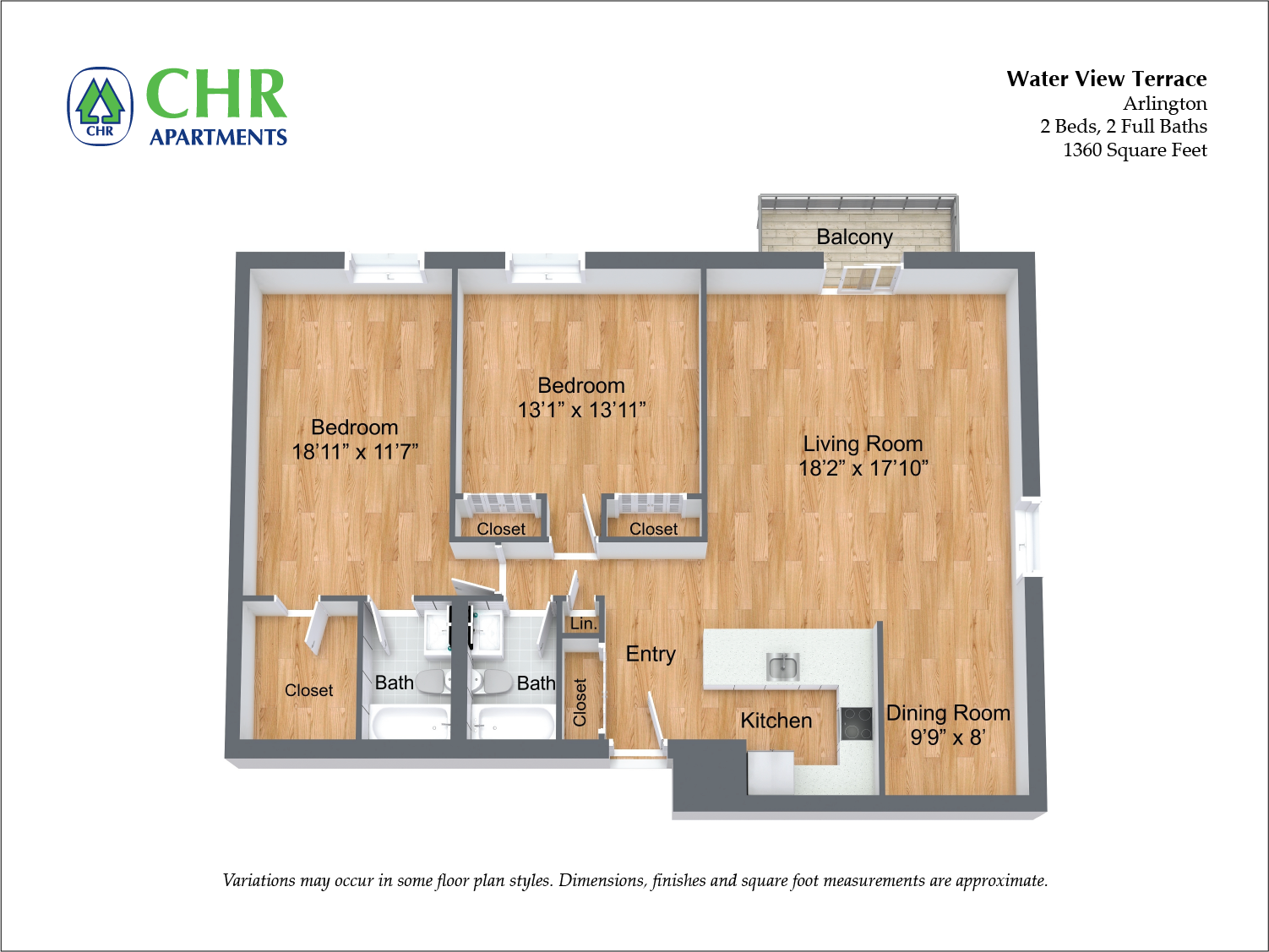 Click to view Floor plan 2 BR Extra Large w/ Balcony image 1