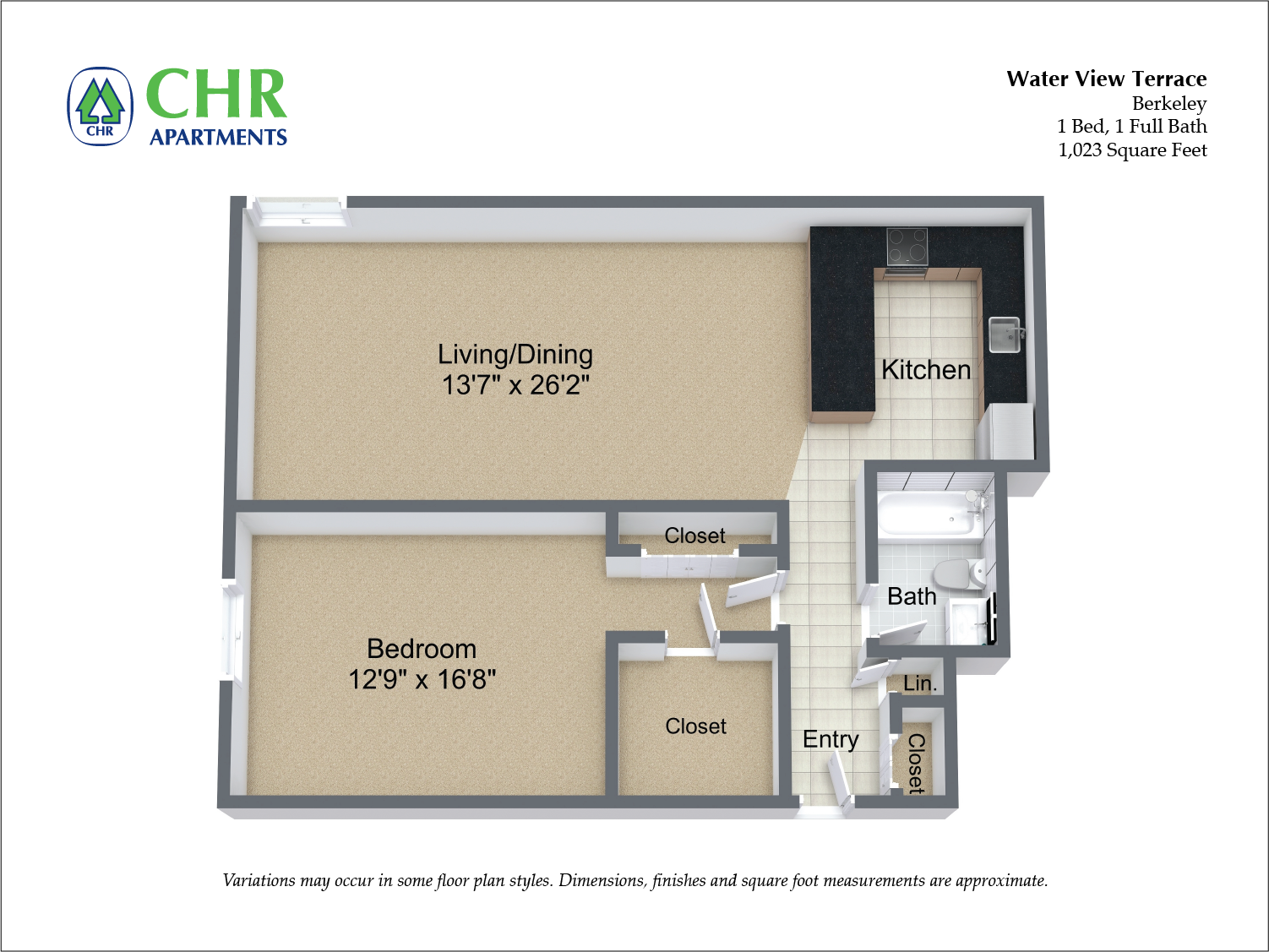 Click to view Floor plan 1 BR Large w/ A/C image 3