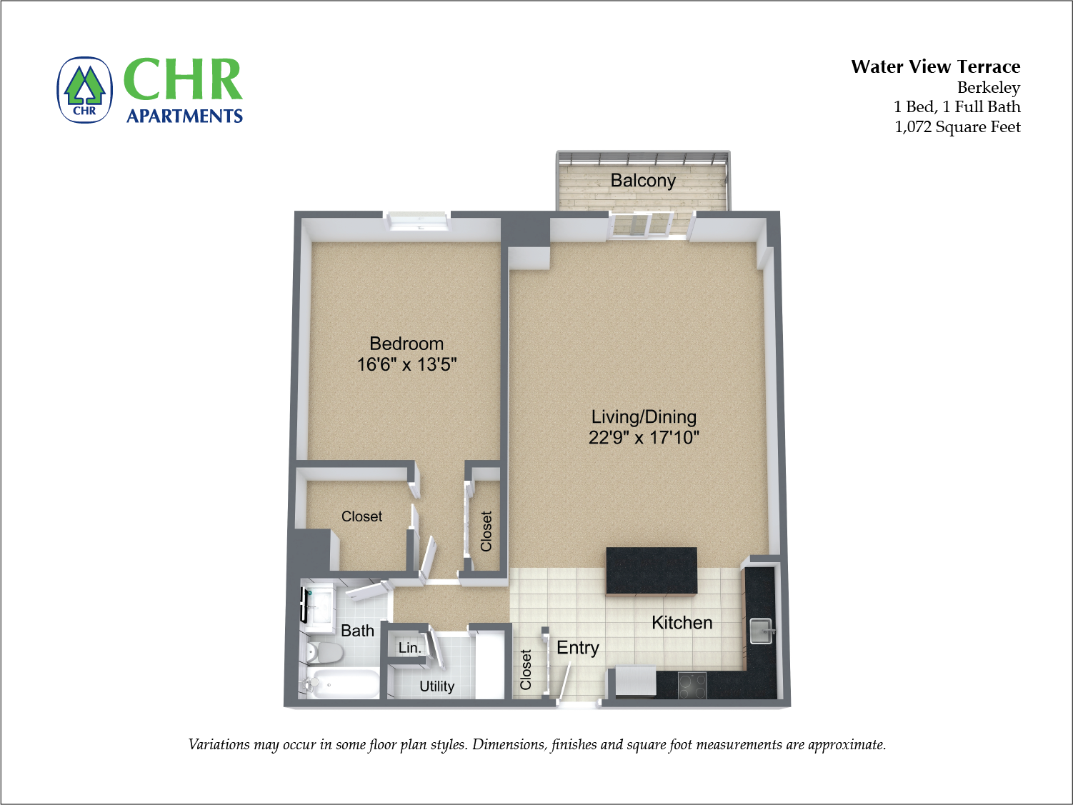 Click to view Floor plan 1 BR Extra Large w/ Balcony image 3