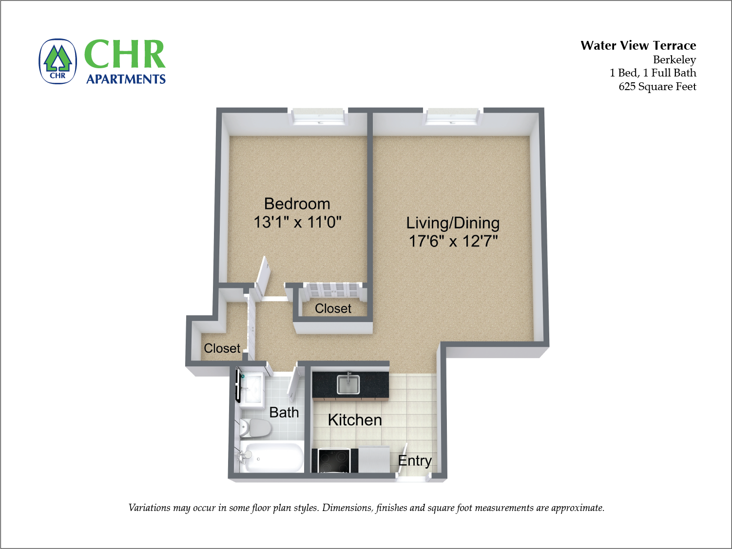 Click to view Floor plan 1 Bedroom with A/C image 2