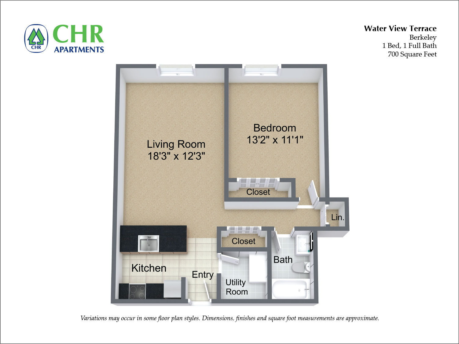 Click to view Floor plan 1 BR w/ Extra Storage & A/C image 2