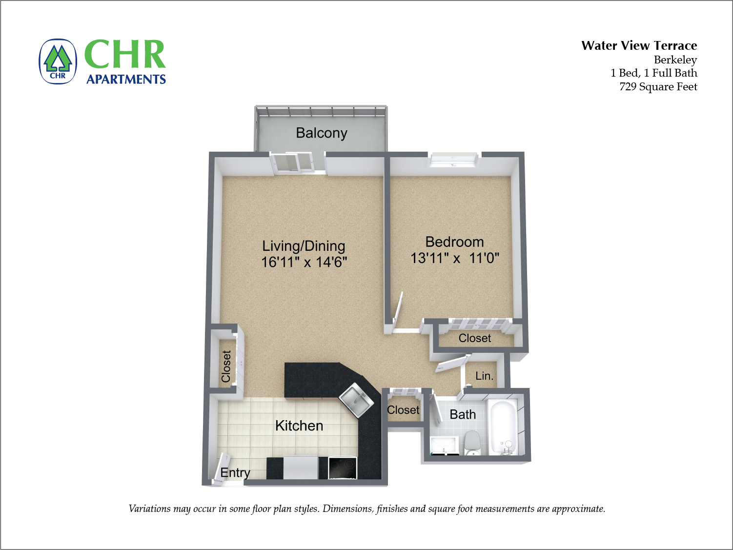 Floor plan 1 Bedroom with Balcony and A/C image 5
