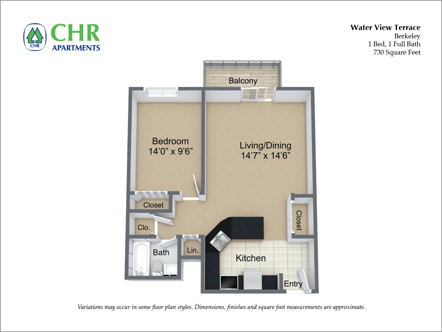 Click to view Floor plan 1 BR w/ Balcony & A/C image 7