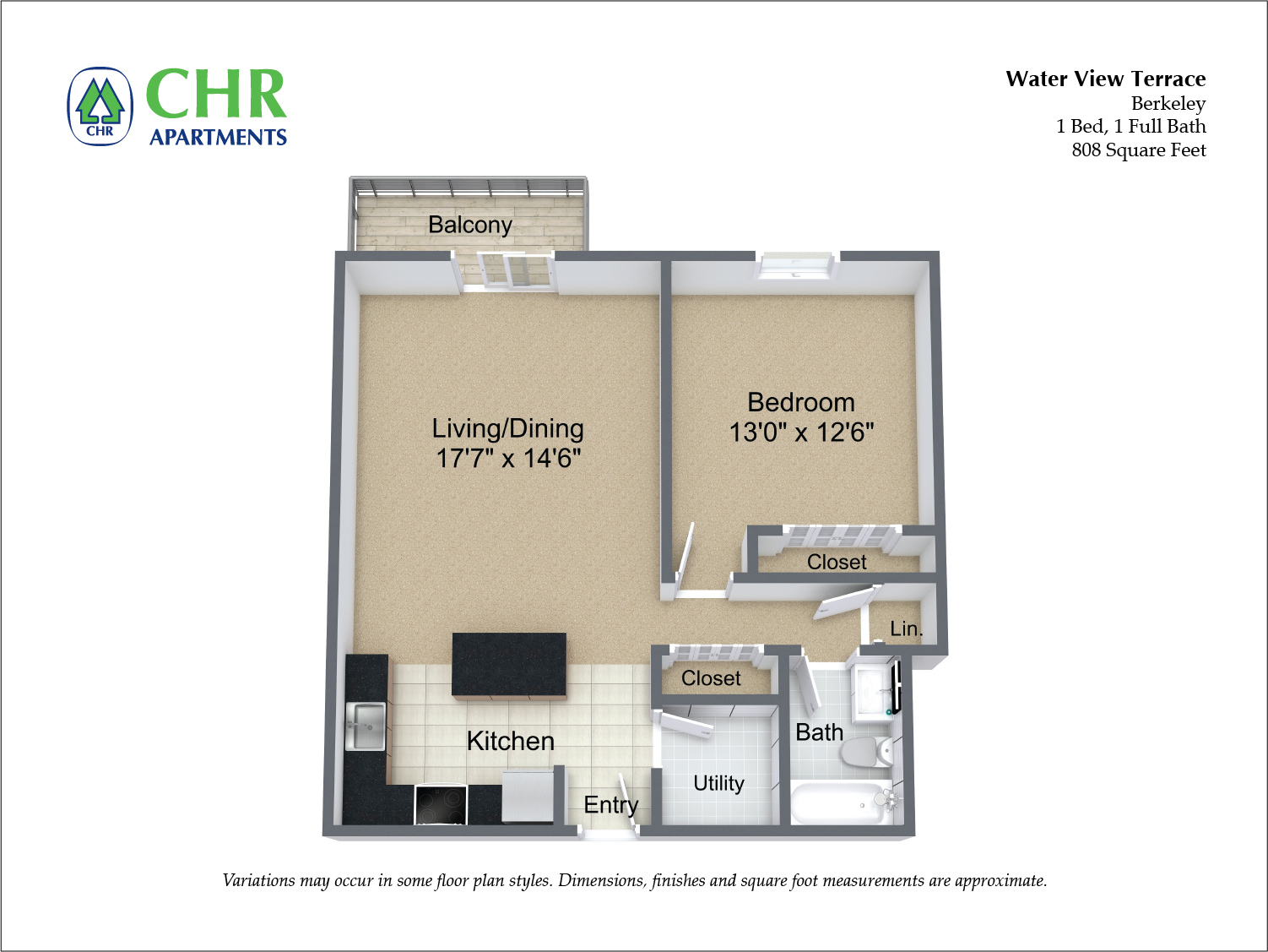Click to view Floor plan 1 BR w/ Balcony & Extra Closets image 7