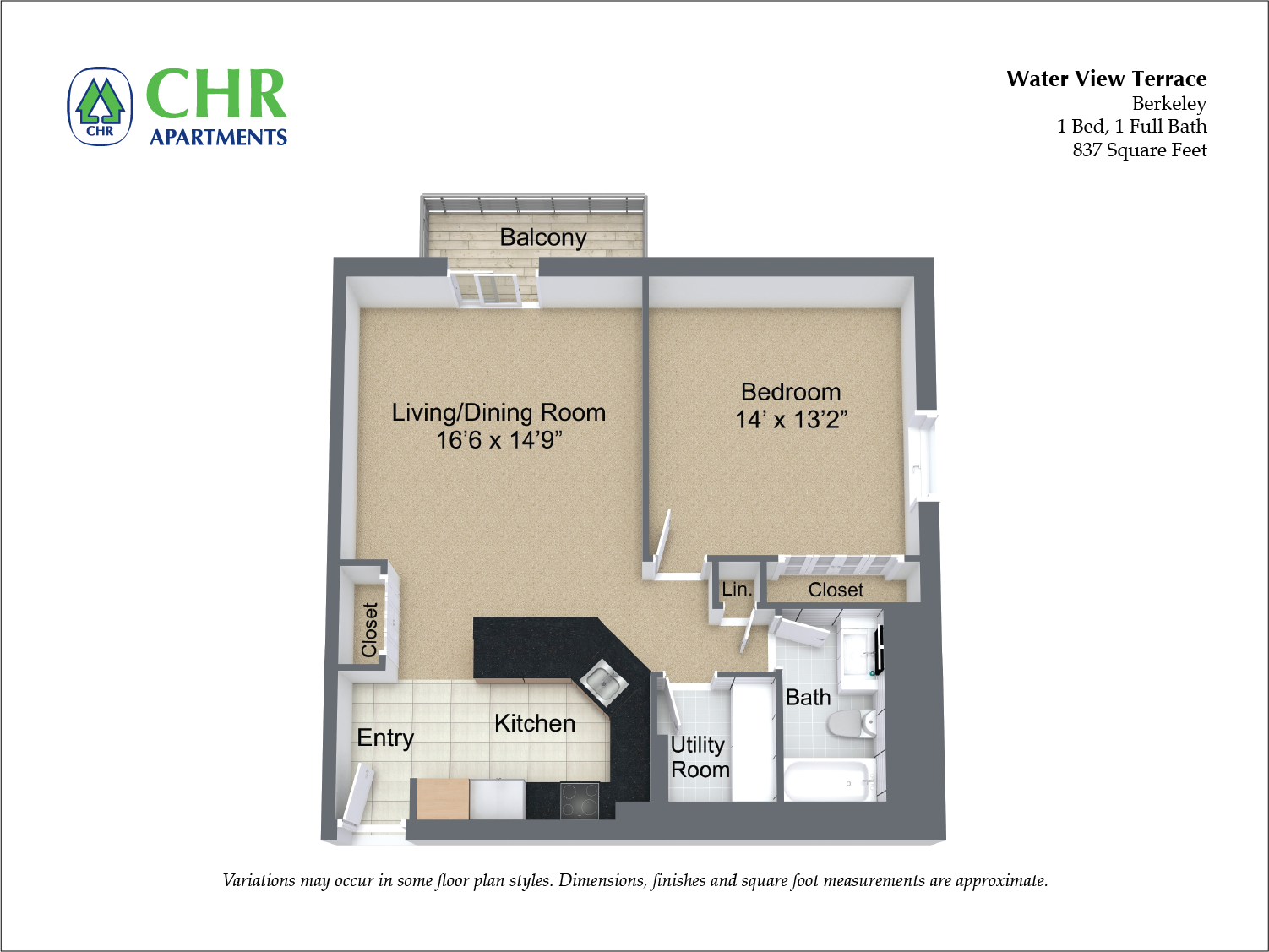 Floor plan 1 Bedroom with Balcony and Extra Closets image 5