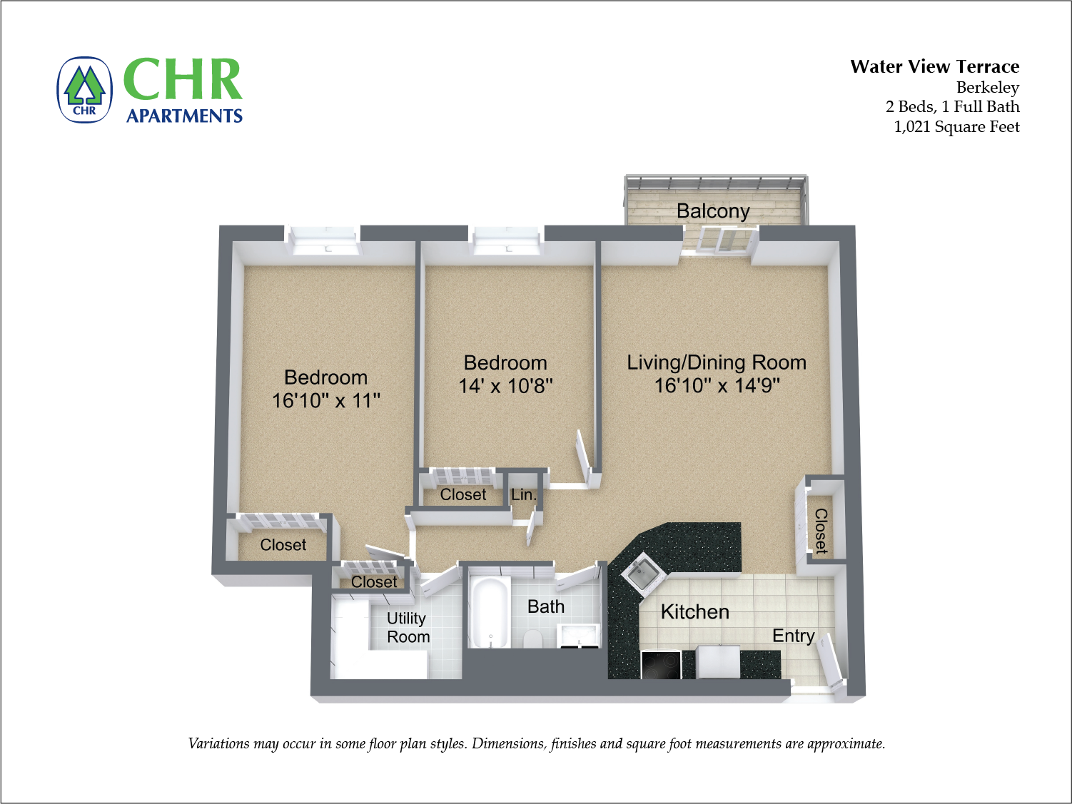 Click to view Floor plan 2 BR w/ Balcony & A/C image 5