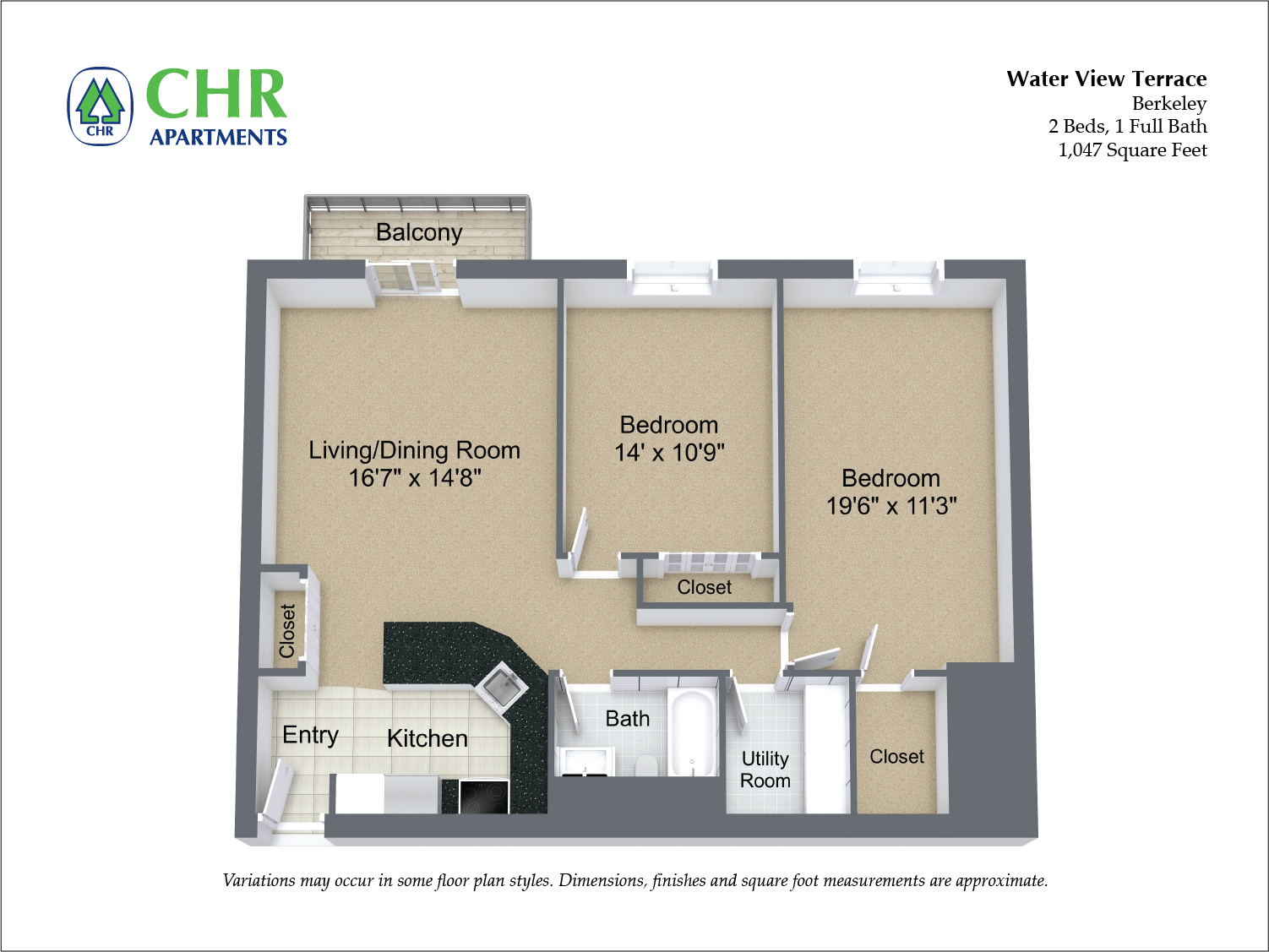 Floor plan 2 Bedroom with Balcony and A/C image 8