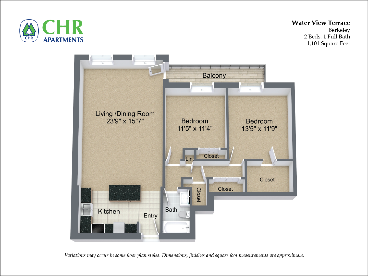 Click to view Floor plan 2 BR w/ Balcony & A/C image 2
