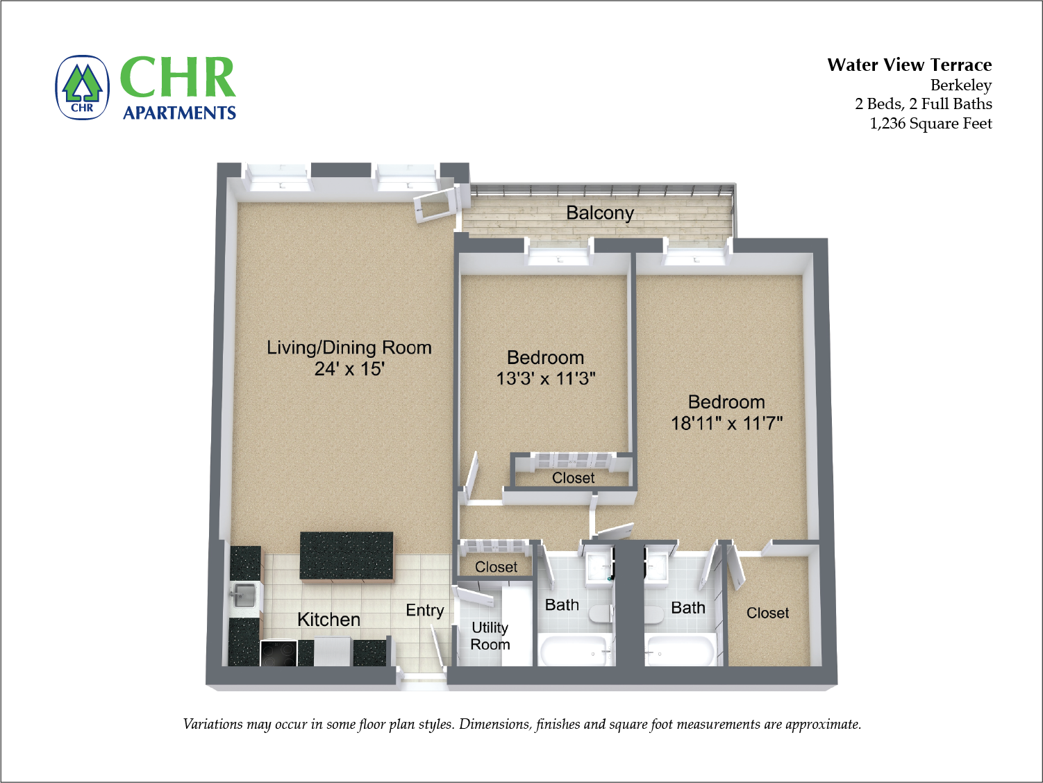 Click to view Floor plan 2 BR Large w/ Balcony image 3