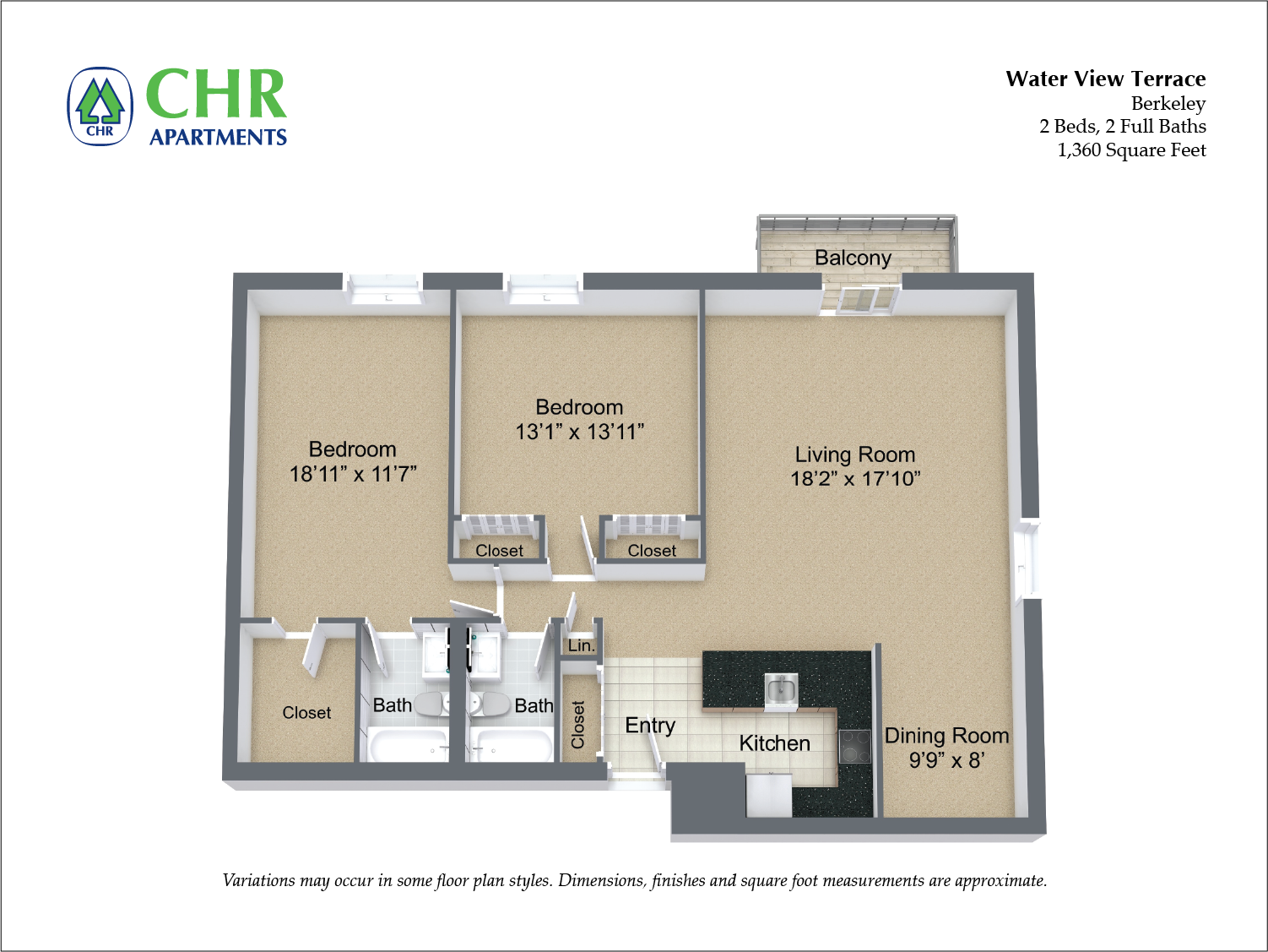 Click to view Floor plan 2 BR Extra Large w/ Balcony image 3