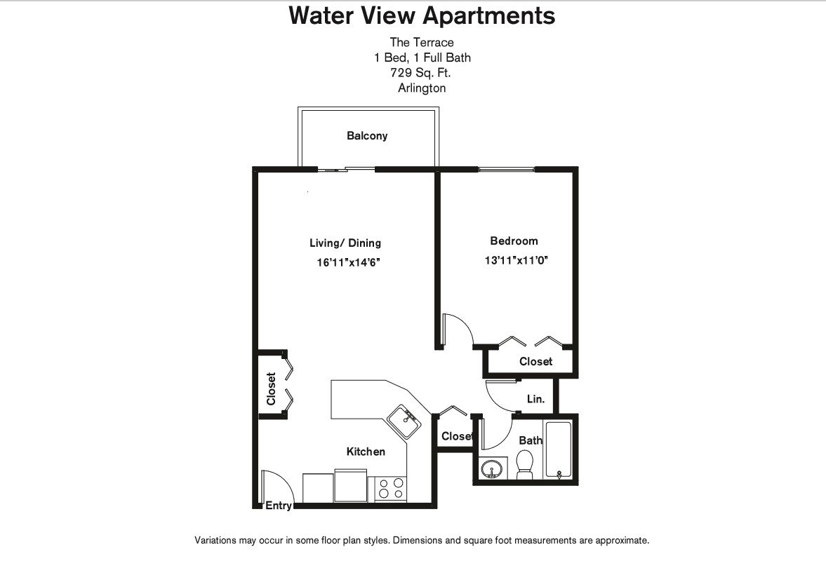 Click to view Floor plan 1 BR w/ Balcony & A/C image 4