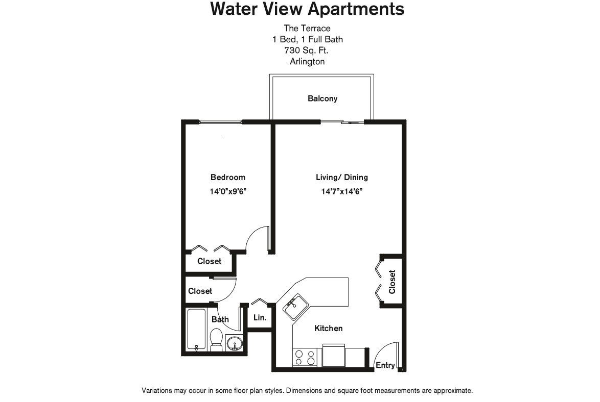 Click to view Floor plan 1 BR w/ Balcony & A/C image 2