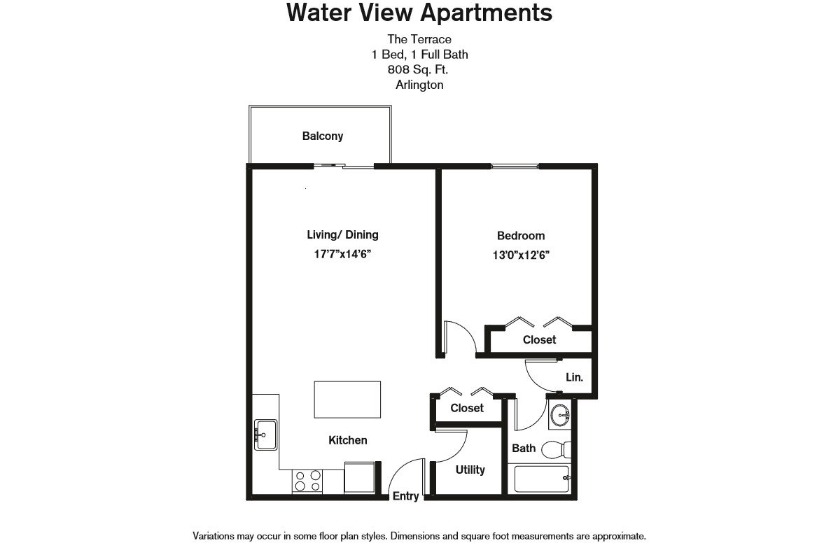 Floor plan 1 Bedroom with Balcony and Extra Closets image 2