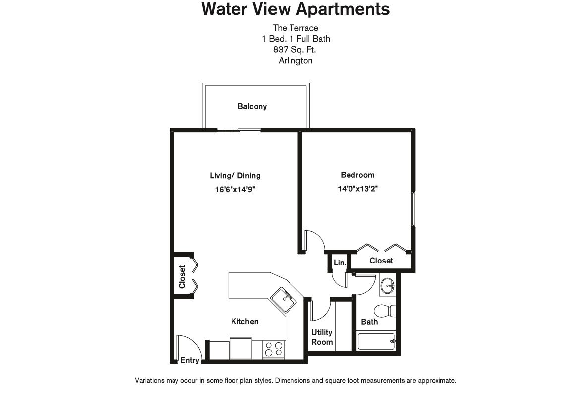 Floor plan 1 Bedroom with Balcony and Extra Closets image 4