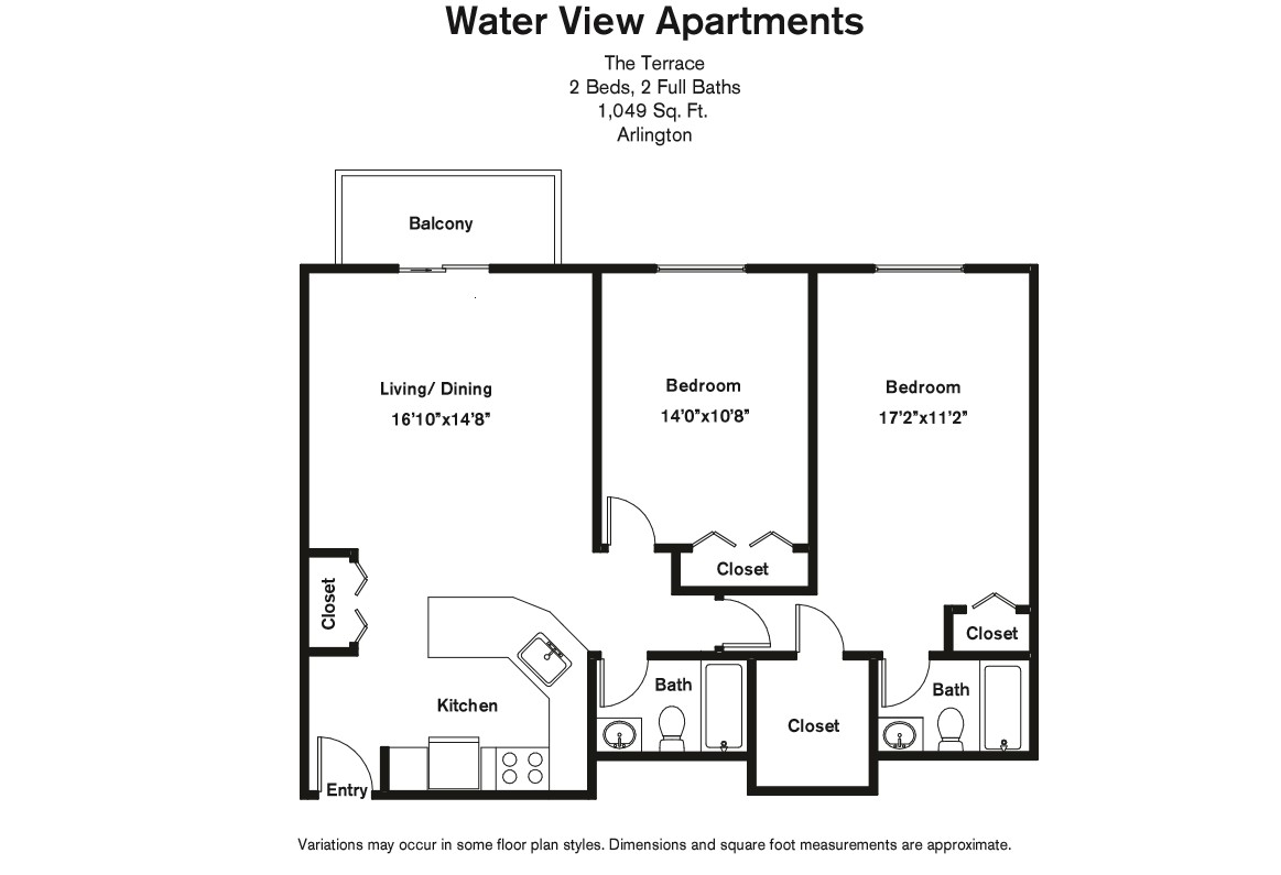 Click to view Floor plan 2 BR w/ Walk-in Closet image 2