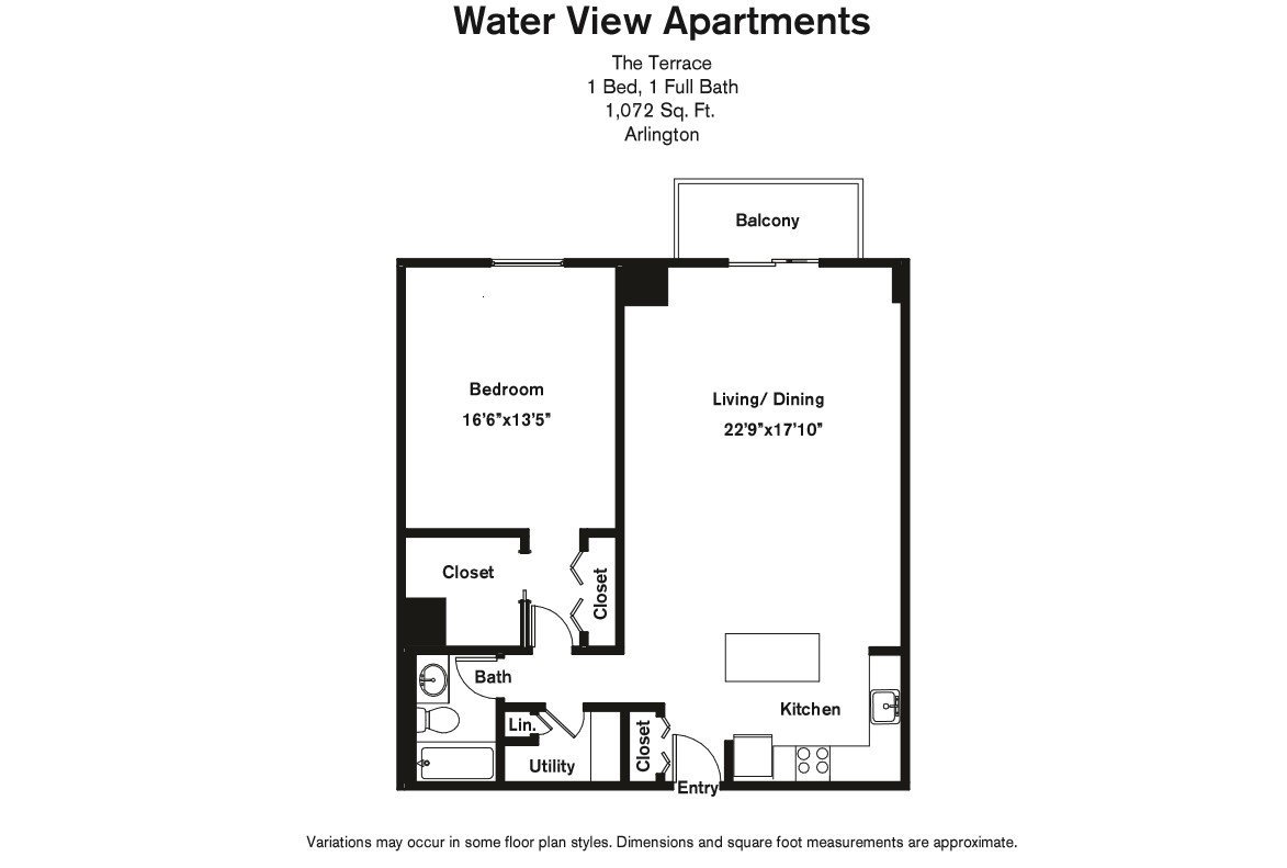 Click to view Floor plan 1 BR Extra Large w/ Balcony image 2