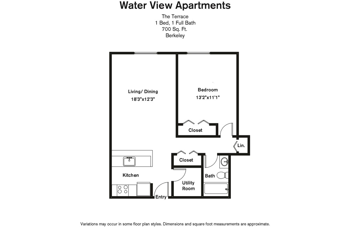 Click to view Floor plan 1 BR w/ Extra Storage & A/C image 3