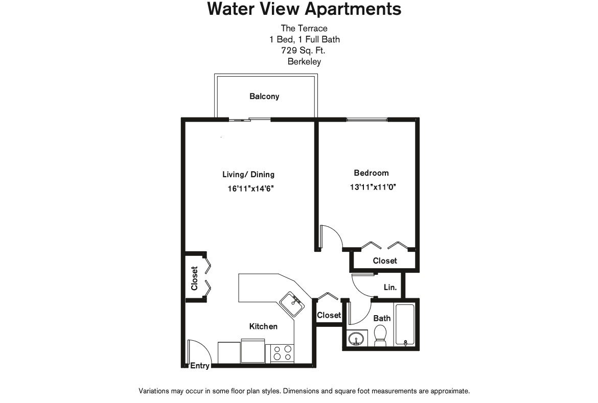Click to view Floor plan 1 BR w/ Balcony & A/C image 6