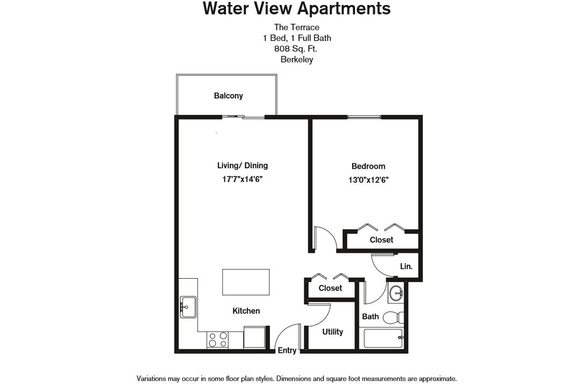 Floor plan 1 Bedroom with Balcony and Extra Closets image 8