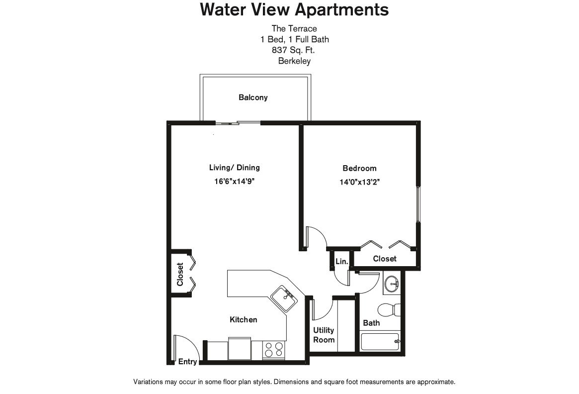 Click to view Floor plan 1 BR w/ Balcony & Extra Closets image 6