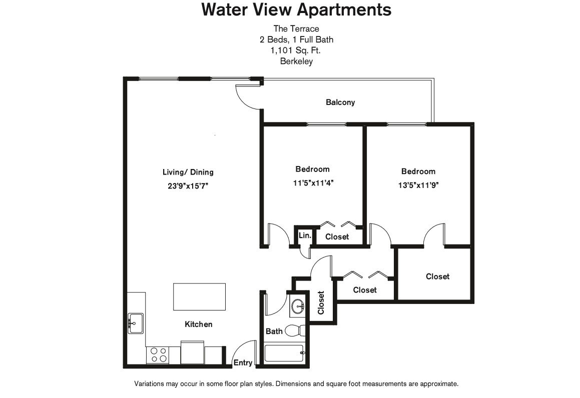Click to view Floor plan 2 BR w/ Balcony & A/C image 3