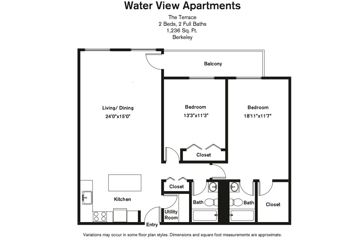 Click to view Floor plan 2 BR Large w/ Balcony image 2