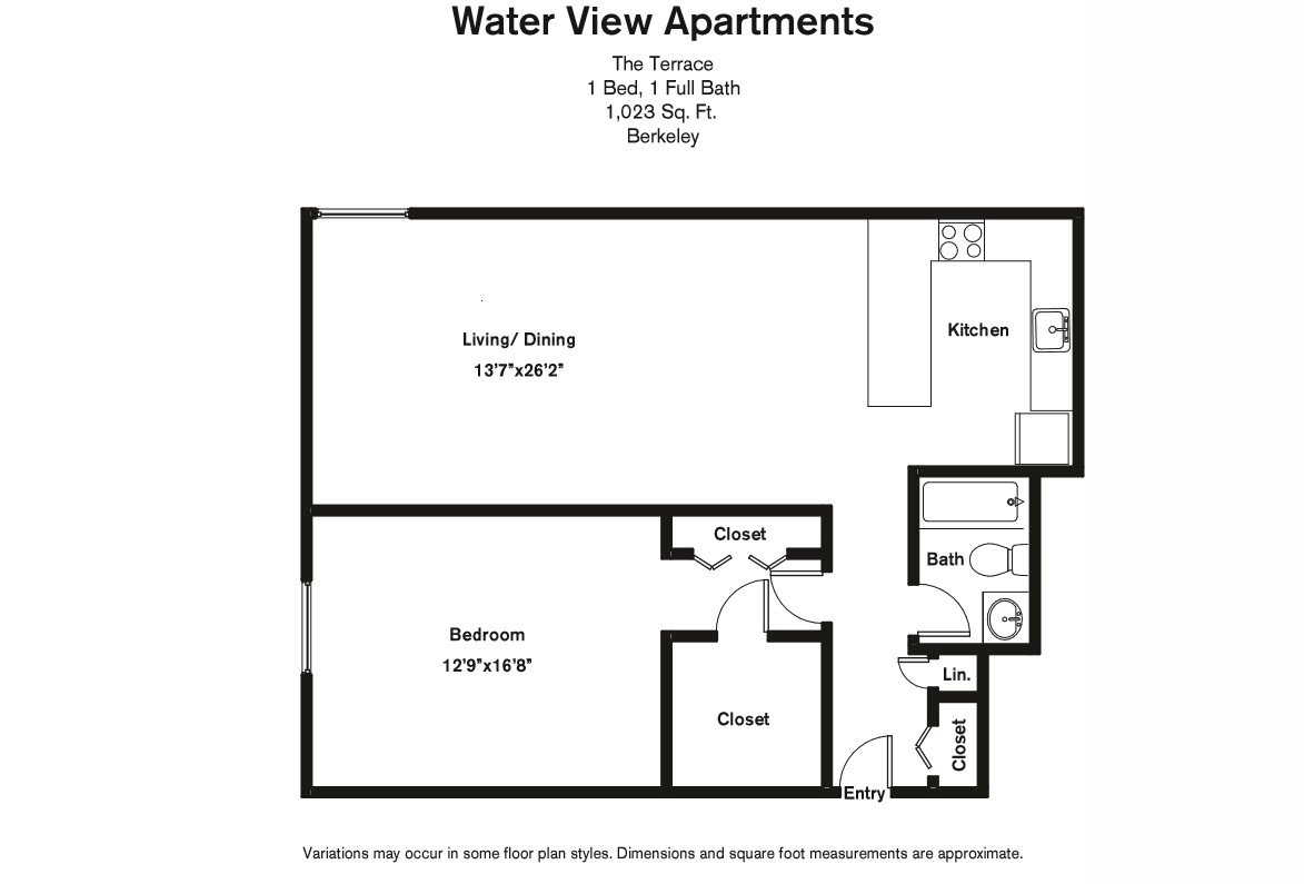 Floor plan 1 Bedroom Large with A/C image 2