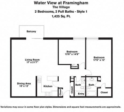 Floor plan 2 Bedroom Large with Balcony image 2