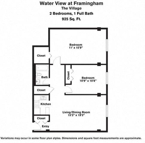 Click to view 2 Bedroom with Walk-In Closet floor plan gallery