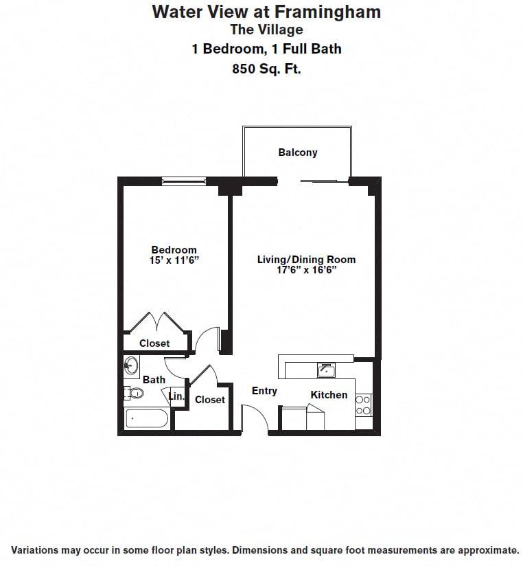 Click to view 1 Bedroom with Balcony floor plan gallery