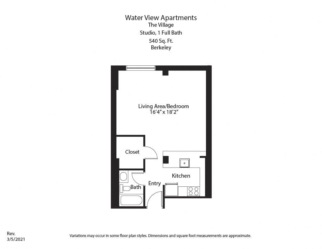 Floor plan Studio with Full Kitchen image 2