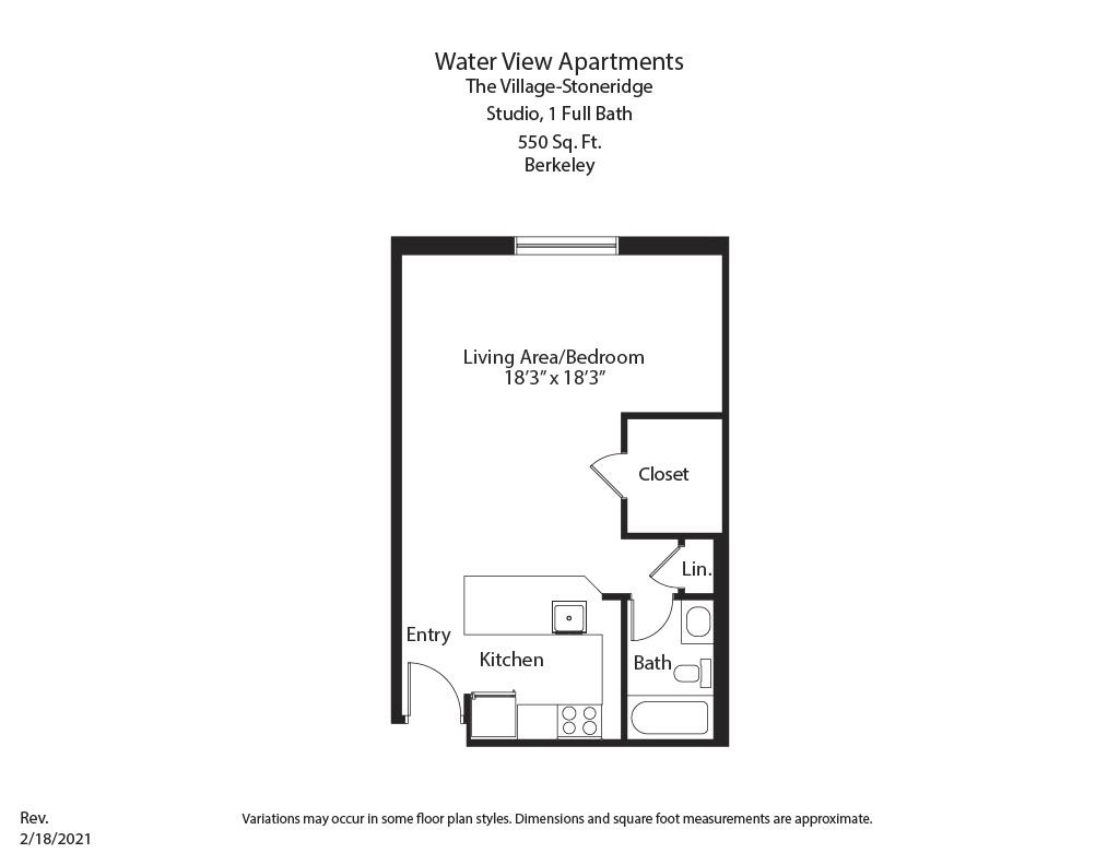 Click to view Studio with Full Kitchen floor plan gallery