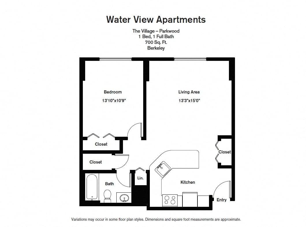 Floor plan 1 Bedroom image 2