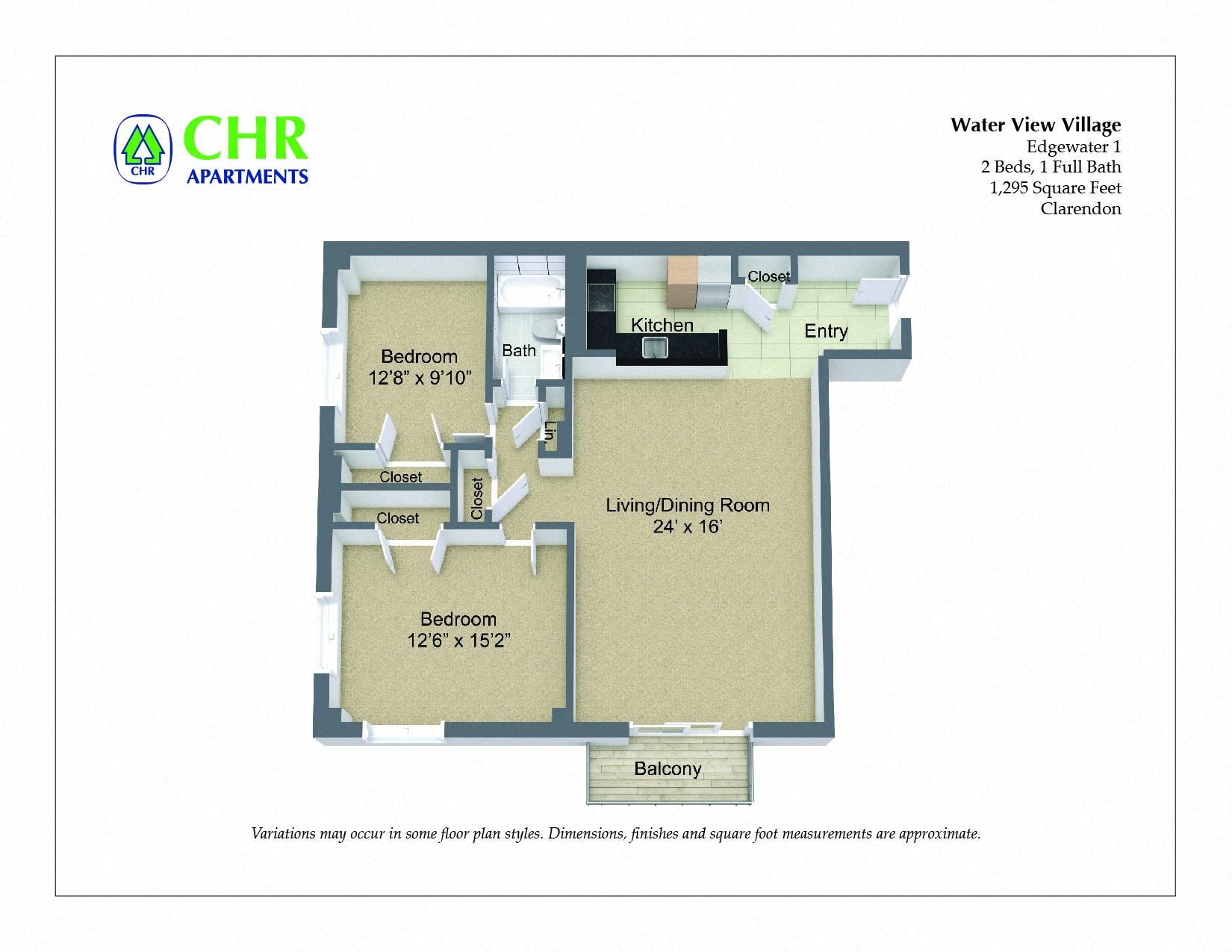 Click to view 2 Bedroom Corner Unit with Balcony floor plan gallery