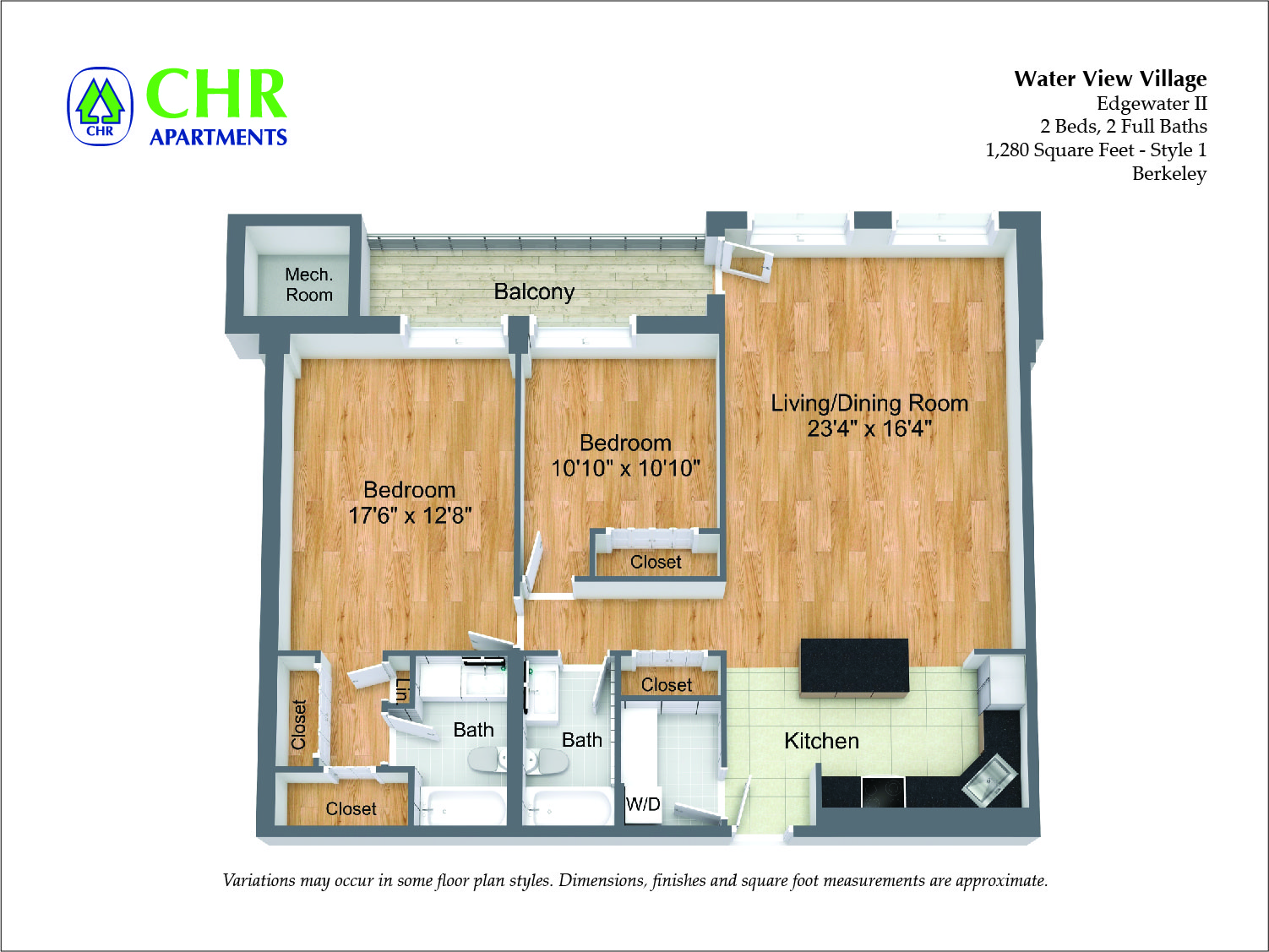 Click to view 2 Bedroom Large with Balcony floor plan gallery