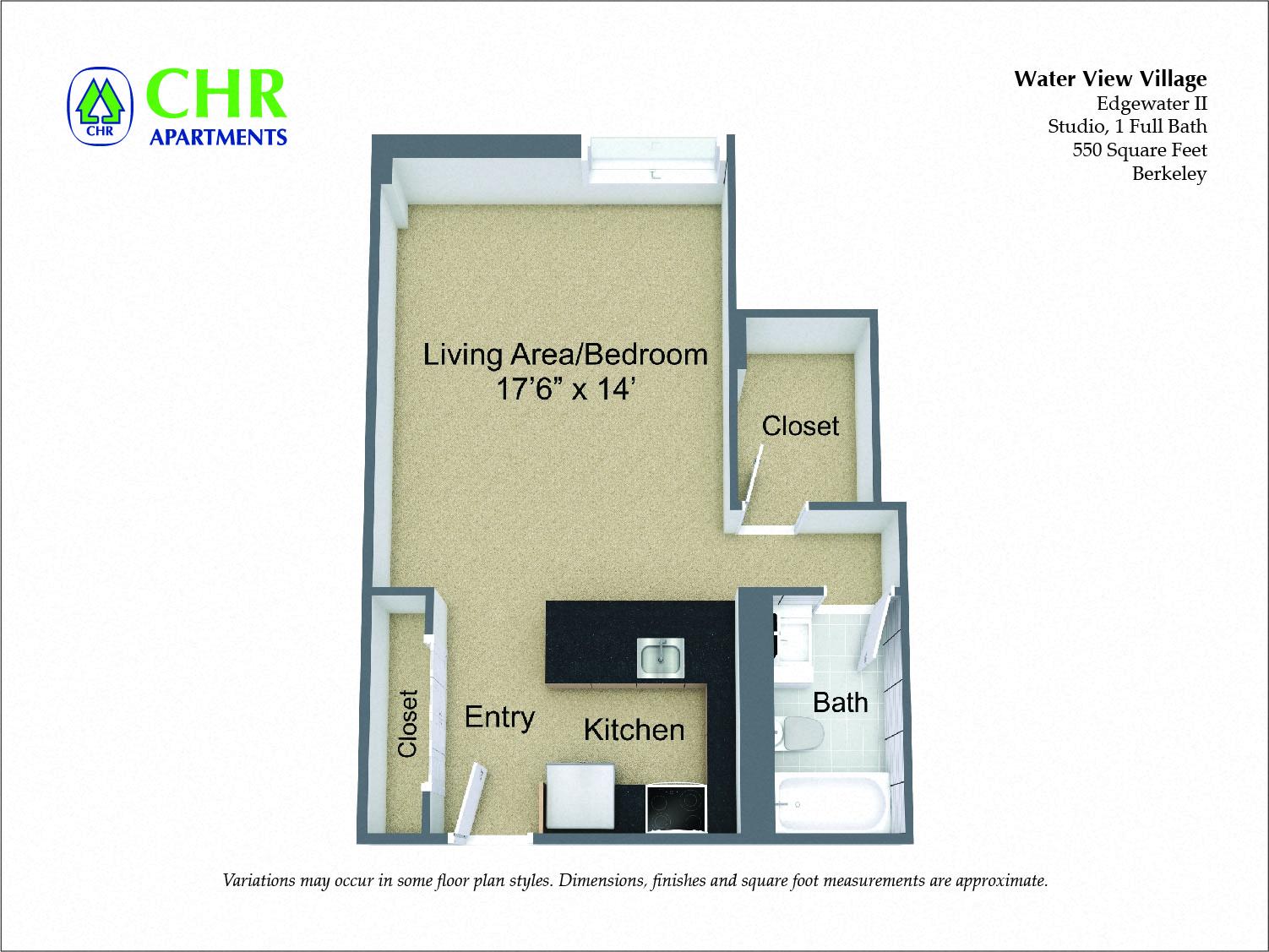 Floor plan Studio with Full Kitchen image 3