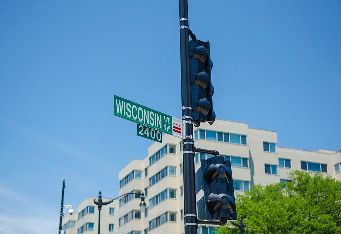Wisconsin Avenue street sign near 2255 Wisconsin Apartments, Glover Park Washington DC