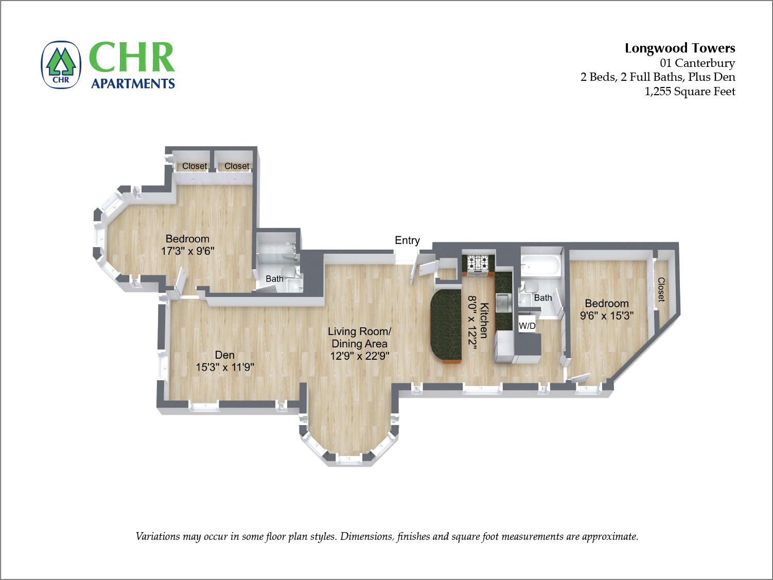 Click to view Canterbury - 2 Bed/2 Bath floor plan gallery