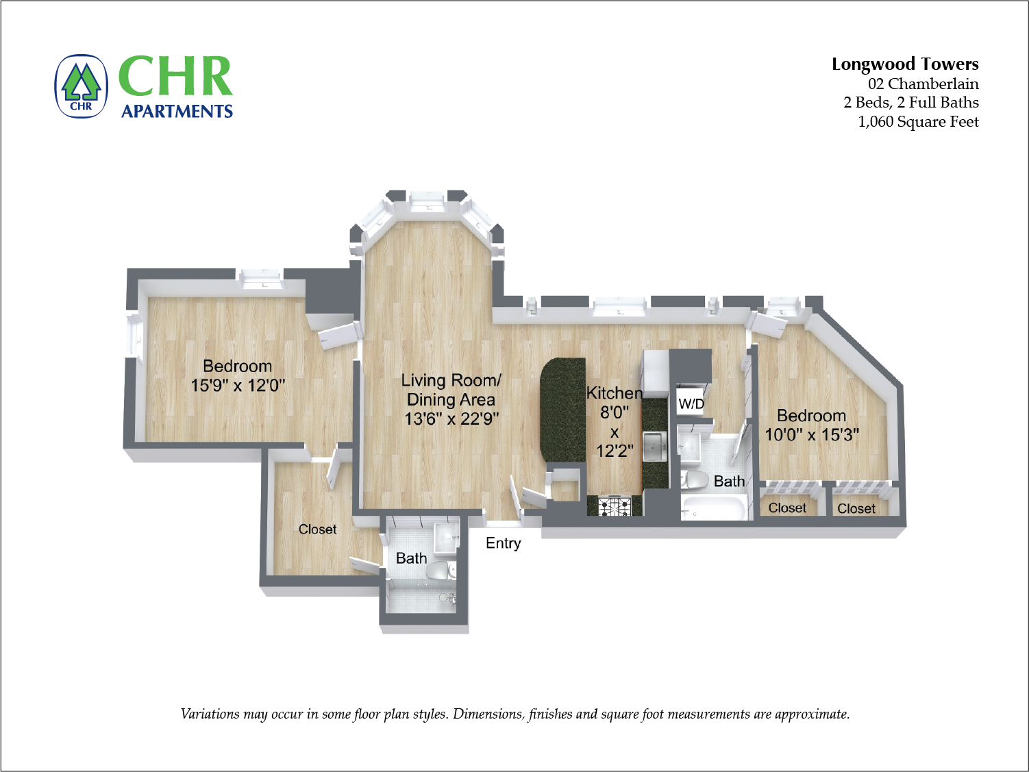 Click to view Chamberlain - 2 Bed/2 Bath floor plan gallery