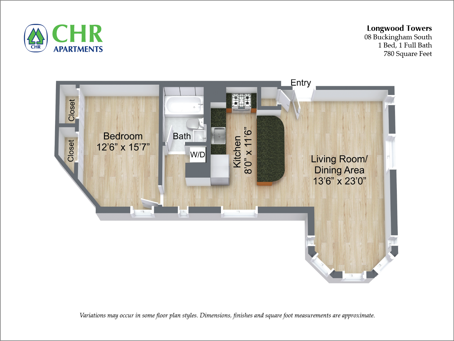Floor plan Buckingham - 1 Bed/1 Bath image 2