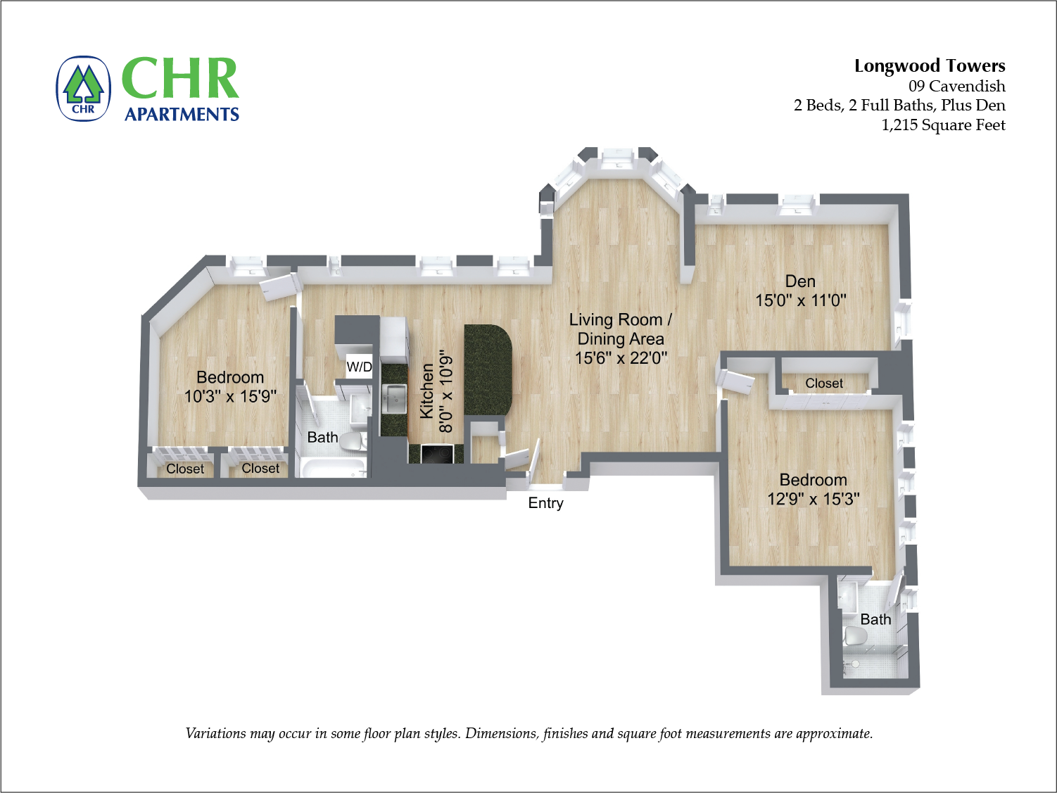 Click to view Cavendish - 2 Bed/2 Bath floor plan gallery