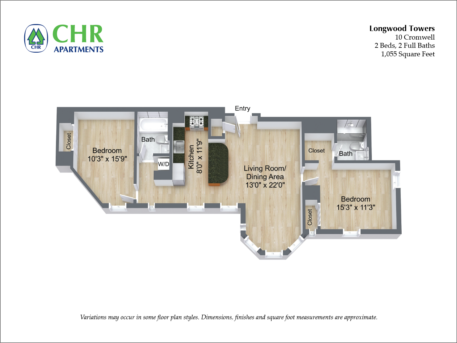 Click to view Cromwell - 2 Bed/2 Bath floor plan gallery
