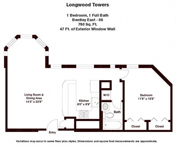 Floor plan Bentley - 1 Bed/1 Bath image 3