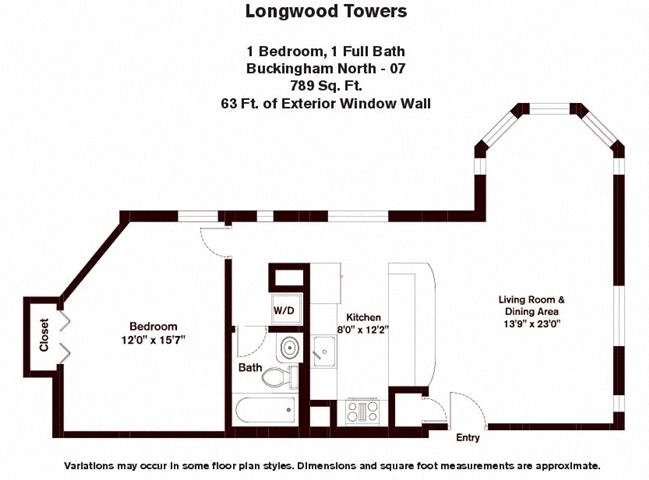 Floor plan Buckingham - 1 Bed/1 Bath image 3