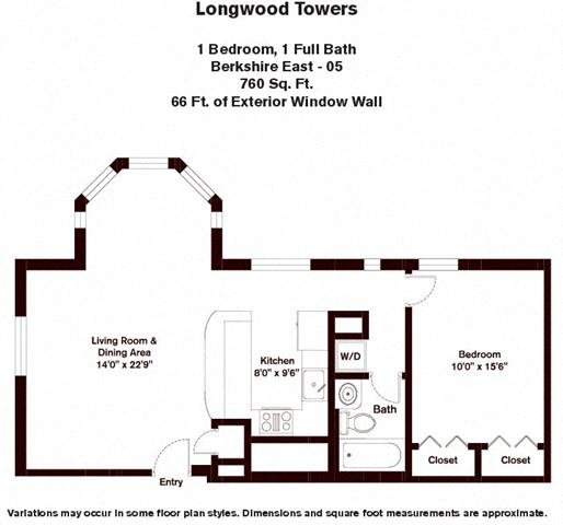 Floor plan Berkshire - 1 Bed/1 Bath image 3