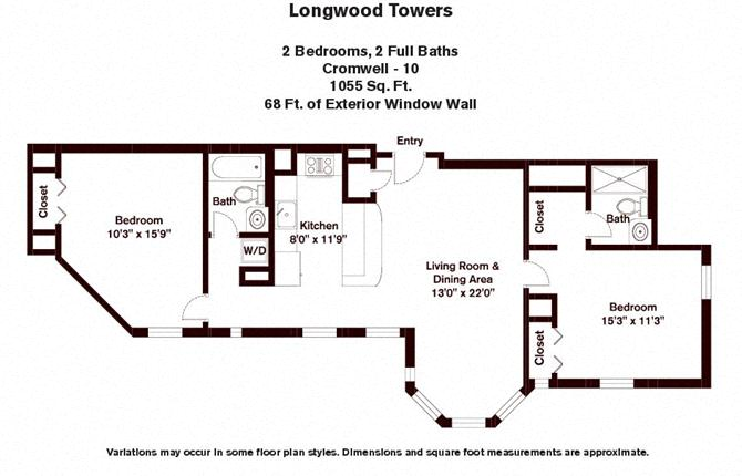 Floor plan Cromwell - 2 Bed/2 Bath image 2