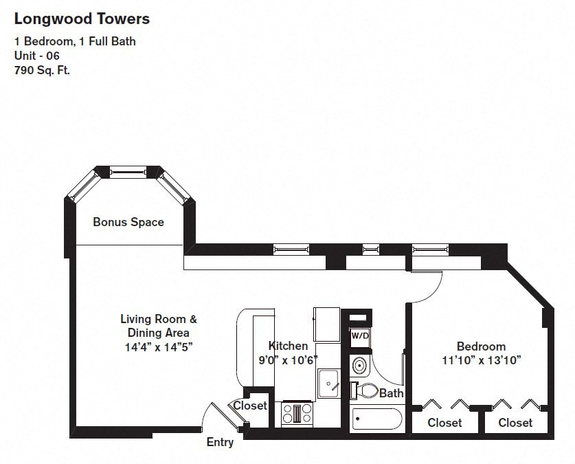 Floor plan Alden Tower - 1 Bed/1 Bath image 2