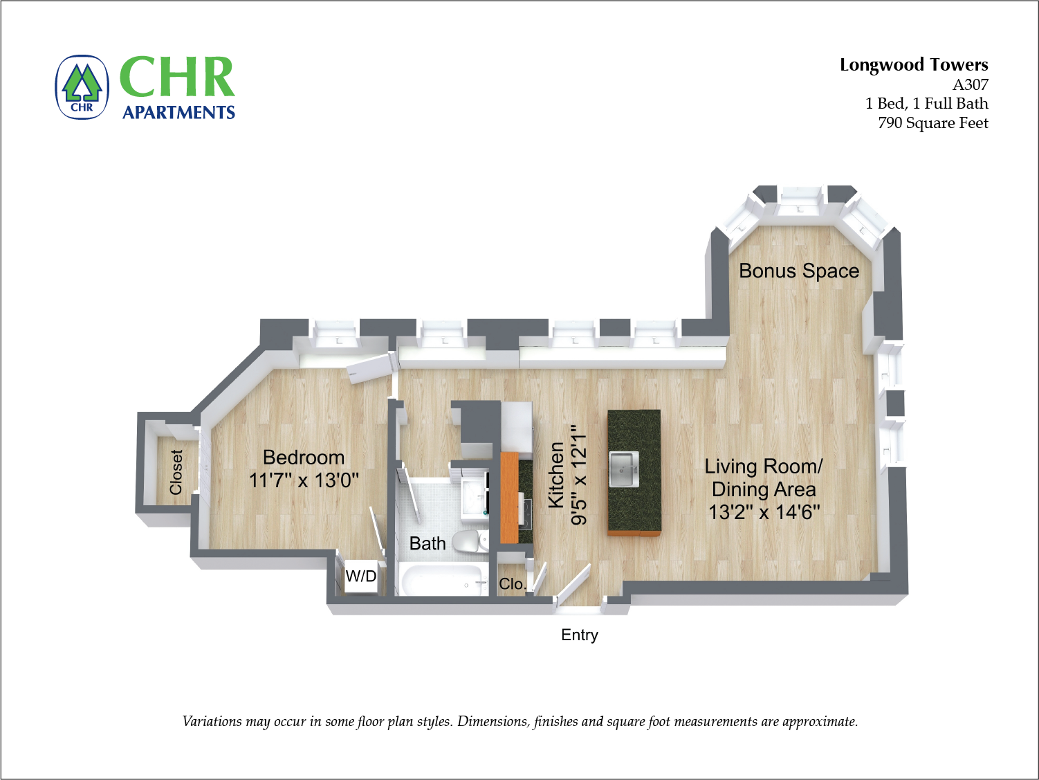 Floor plan Alden Tower - 1 Bed/1 Bath image 3